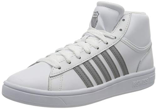 K-Swiss Damen Court Winston MID Sneaker, White/NEUTRAL Gray, 35.5 EU