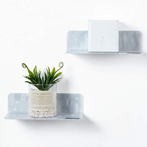 OAPRIRE Estantes de pared flotantes de acrílico, juego de 2 – Personalizar ampliar el espacio de pared – Patrón de mármol pequeño estante de pared para baño, sala de estar, oficina con clips de cable