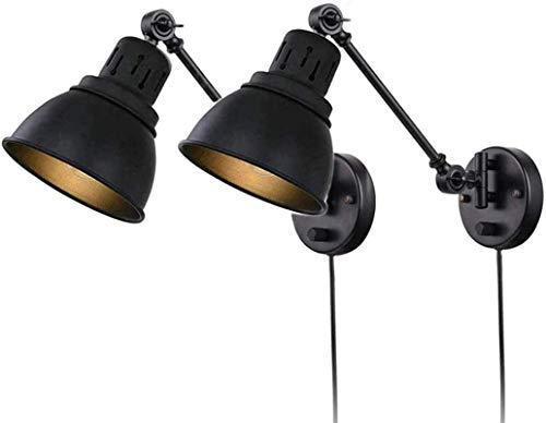 Luces de pared industriales, Enchufe de la vendimia en las luces de la pared con interruptor, lámpara de pared de brazo de giro ajustable, lámpara de noche de dormitorio montada en la pared, luz de le