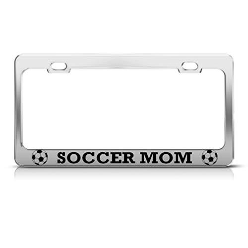 Speedy Pros Metal License Plate Frame Soccer Mom Car Accessories Chrome 2 Holes