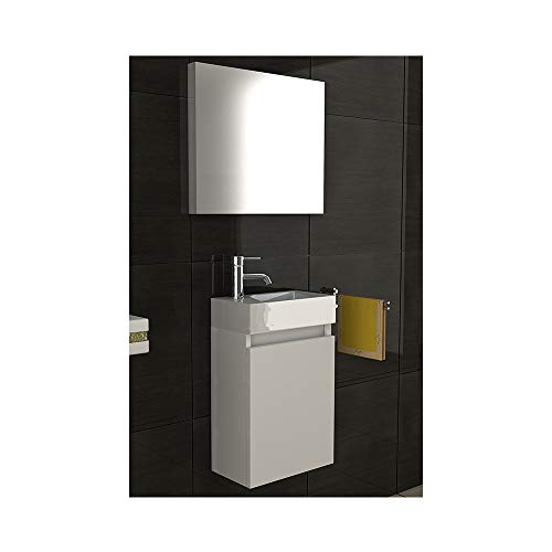 Badmöbel Komplettset mit Waschbecken aus Mineralguss, Unterschrank und Spiegel mit Softclose-Funktion/weiß