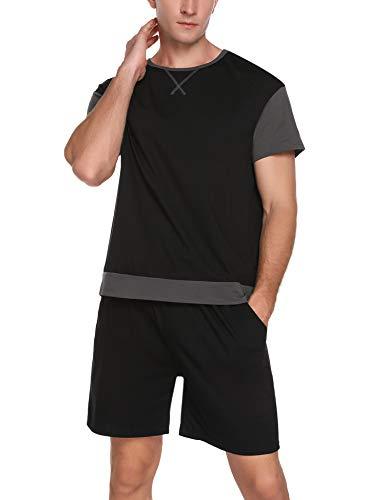 Sykooria Schlafanzug Herren Kurz, Pyjama Sommer Nachtwäsche Set aus Baumwolle Sleepwear, Kurzarm Oberteil & Schlafanzughose, Schwarz L