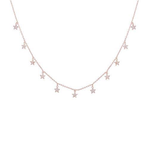 Collana con pendente a stella/luna/cuore per donna, collana a catena lunga placcata in oro rosa e argento con zirconi (#3 Stella, Oro rosa)