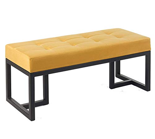 KLUDO.PL ELLYN elegante banco / asiento de cuero para recibidor / salón / dormitorio. Varios tamaños y colores. Marco de metal. Hecho a mano.