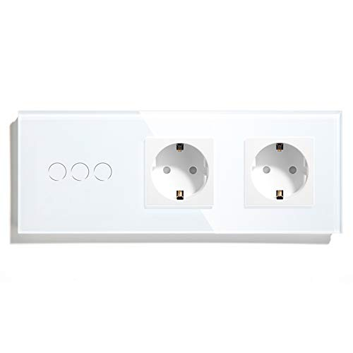BSEED Interruptor con Enchufe Doble,3 Gang 1 Vía Interruptor de Luz con Enchufe de pared,Blanco Interruptor tactil de Luz pared con indicador LED,enchufes de extensión con panel de vidrio templado