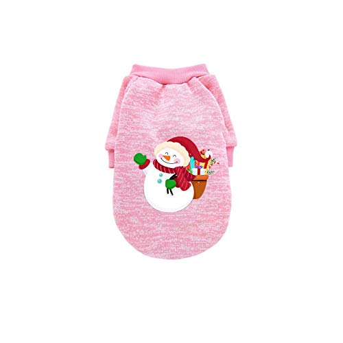 Watonic Sweaters Jackets Christmas Pet Clothes Cat Dog Warm Autumn Winter Cold Weather Coats,Dogs Apparel & Accessories (PinkBack Length 11.02')
