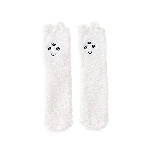 YWLINK Calcetines De Lana Coral Mujer,Calcetines Suaves Calcetines para Dormir Calcetines De Suelo Calcetines Termicos Calcetines Largos De Color Liso Calcetines De Invierno (D1, Talla única)