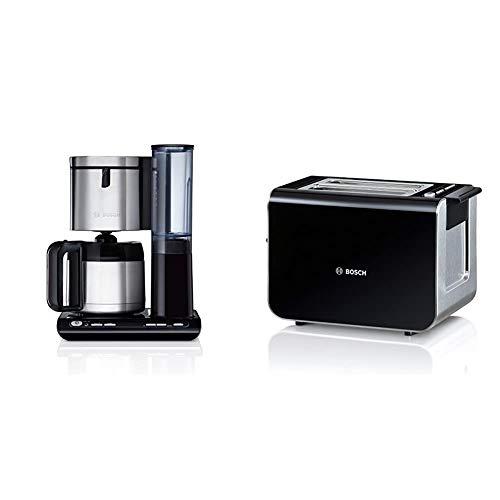 Bosch TKA8653 Styline Filterkaffeemaschine, autom. Anpassung Brühzeit, abnehmbarer Wassertank (1 L), 1100 W, schwarz & TAT8613 Styline Kompakt-Toaster, Auftau/Aufwärmfunktion, 860 W, schwarz