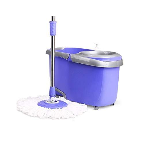 STRAW Mop - Spin Mop Bucket System Sistema de Limpieza de Piso de Acero Inoxidable Deluxe Spinning Mop Bucket con reemplazo de Microfibra