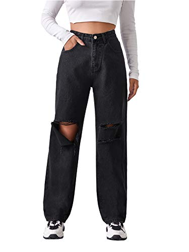 SheIn Women's High Waist Ripped Baggy Jeans Distressed Denim Long Pants with Pockets Black Large