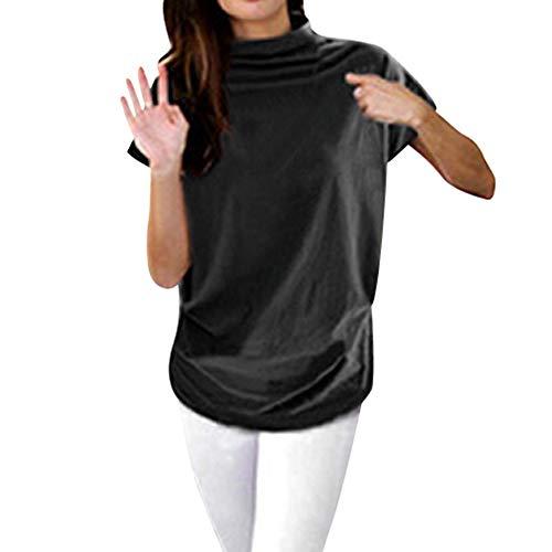 iHENGH Damen Top Bluse Bequem Lässig Mode T-Shirt Frühling Sommer Blusen Frauen Rollkragen Kurzarm Baumwolle Solide Casual Top(Schwarz, M)