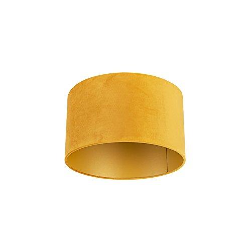 QAZQA Classique/Antique Tissu Abat-jour en velours jaune 35/35/20 avec intérieur doré, Rond/Cylindrique Abat-jour Suspendu,Abat-jour Lampadaire