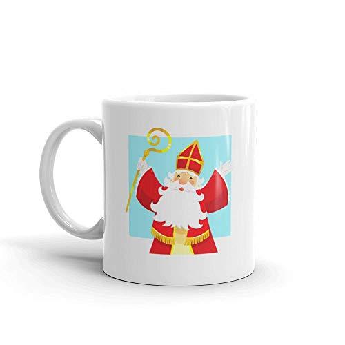 Dozili Grappige Koffiemok - Happy Sinterklaas Saint Nicholas Keramische Koffiemok Beker, 11 Oz, Wit