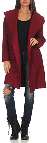 Malito Damen Wollmantel kurz | Boucle Wool | Trenchcoat mit Gürtel | weicher Dufflecoat | Parka - Jacke 9320 (Bordeaux)