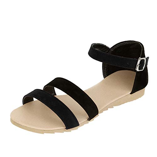 Sandalias para Mujer Verano 2019 Planas LuckyGirls Sandalias Playa Casual Fiesta Zapatos Vestir Tacón Bajo Elegantes Peep Toe con Hebilla Tallas Grandes