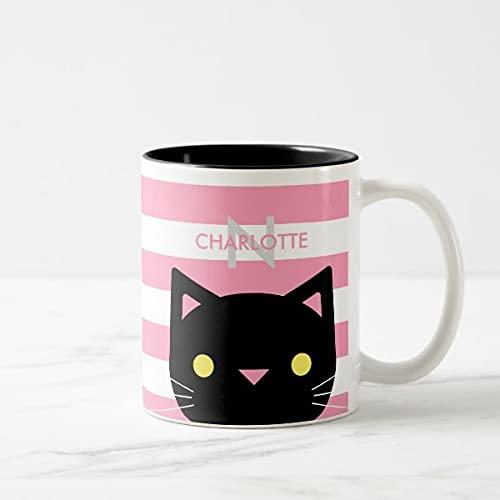 Yilooom Cute Cup Present, lindo gato negro nombre personalizado y inicial dos tonos taza de café, 11 oz