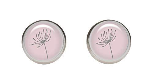 KT-Schmuckdesign Edelstahlorstecker in rosa mit Pusteblume Motiv grau, 2 kleine Ohrringe mit hochwertigem Cabochon aus Glas