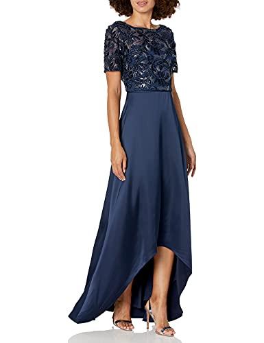 Adrianna Papell Women's Soutache Long Dress, Midnight, 14