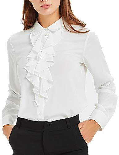 ACONIYA Women's Vintage Long Sleeve Lotus Ruffled Casual Work Shirt Blouse Tops(S,White