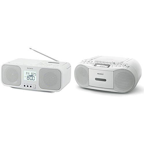 【セット買い】ソニー CDラジオカセットレコーダー CFD-S401 : FM/AM/ワイドFM対応 大型液晶/カラオケ機能搭載 電池駆動可能 ホワイト CFD-S401 W & CDラジカセ レコーダー CFD-S70 : FM/AM/ワイドFM対応 録音可能 ホワイト CFD-S70 W