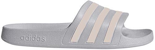 adidas Women's Adilette Aqua Sandal, Grey/Platino Metallic/Grey, 11 M US