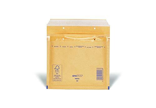 Arofol 2FVAF000013 - Buste imbottite per CD, 100 pezzi, 180 x 165 mm, giallo oro/marrone