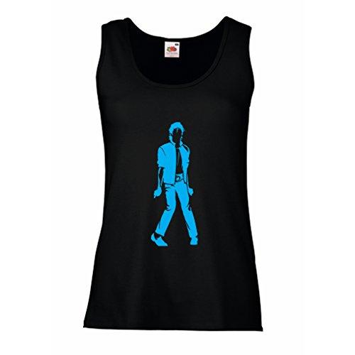 lepni.me Camisetas sin Mangas para Mujer Me Encanta M J - Rey del Pop, 80s, 90s Músicamente Camisa, Ropa de Fiesta (X-Large Negro Azul)
