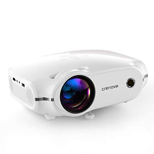 """Beamer, portabler CrenovaMini Projektor unterstützt1080P, HD Beamer mit 200\"""" Bildgröße und 4500 LumenfürPC/MAC/DVD/TV/Xbox/Filme/Spiele/Smartphone mitkostenlosem HDMI-Kabel,weiß."""