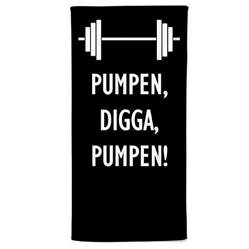 Power Towel das Coole Fitness & Sport-Handtuch mit Einer Botschaft  Verschiedene Motivations-Quotes  Größe 50 cm x 100 cm   POWERTOWEL Handtuch Mikrofaser Baumwolle (PUMPEN Digga - Black)