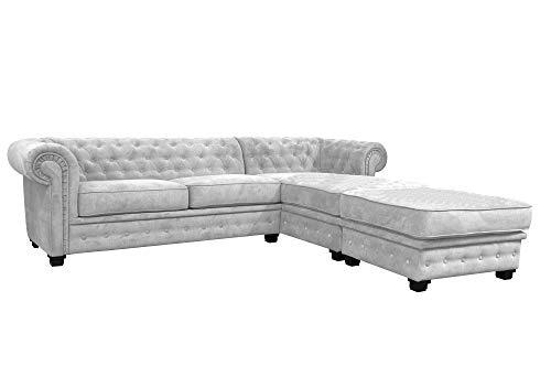 Sofá de esquina estilo Chesterfield de 3más 2plazas, sofá de tela, gris claro, tela, gris claro, Right Hand Corner With Footstool