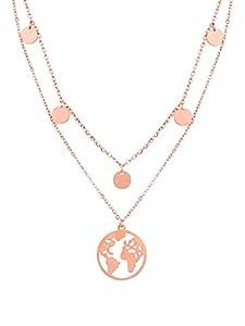 a little something® Halskette Noord   Damen Layer Kette mit 18 Karat Vergoldung (Gold & Roségold)   Inklusive nachhaltiger Geschenkverpackung mit FSC®-Zertifikat