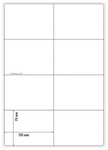 OfficeGear A7 - Tarjetas de recarga perforadas imprimibles, índice de registro, 74 x 105 mm, 8 tarjetas por hoja A4 blanca, 150 gsm, 12 hojas, 96 tarjetas
