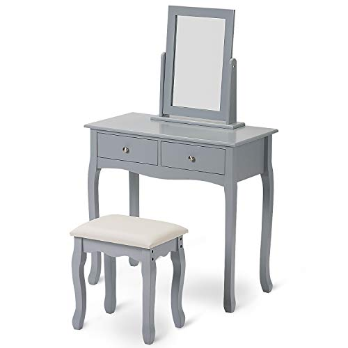 Merax Dressing Table Mirror Set Makeup Dresser Table with 2 Drawers and Stool Bedroom Dressing Desk Makeup Table Stool Set Modern Dresser Vanity Cushioned Stool with Makeup Organizer (Grey)