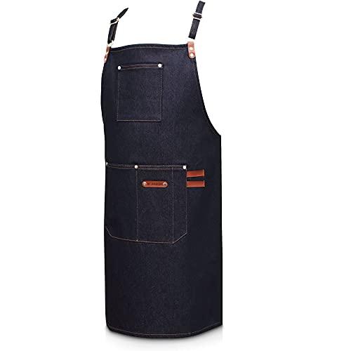 ANDLER Kochschürze & Küchenschürze - Edle Grillschürze für Männer & Damen mit größenverstellbarem Schultergurt und 2 großen Taschen - Stylische & praktische Schürze Damen & Kochjacke Herren (Blau)
