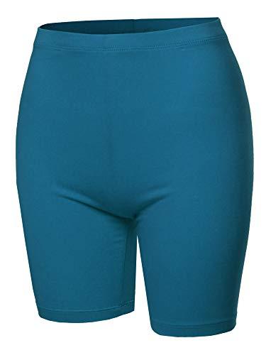 A2Y Basic Solid Cotton Mid Thigh High Rise Biker Bermuda Shorts Teal M