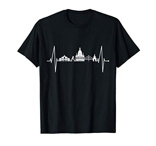 Dresden Skyline Herzschlag Dresdener Herz Ich Liebe Dresden T-Shirt