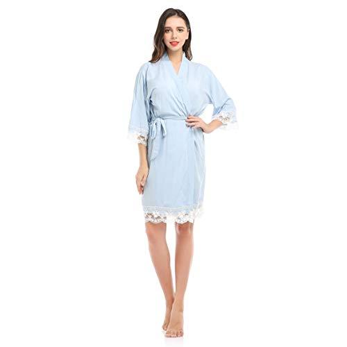 Sylvialuca Frauen Sexy Nacht Robe Home Anzug Baumwolle Lace Edge Nachtwäsche Solid Loose 3/4 Ärmel Knielangen V-Ausschnitt Nachthemd Kleid Bademantel