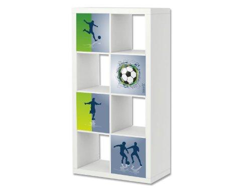 STIKKIPIX Fußball Möbelfolie | ER04 | Aufkleber-Set passend für das Regal EXPEDIT/KALLAX von IKEA (Möbel Nicht inklusive)