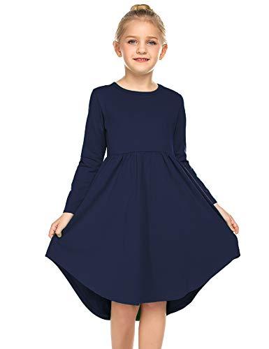 Parabler Kleid Kinder Blau Swing Prinzessin Kleider Mädchen Festlich Langarm Kleid Herbstkleid A Linie Retro Gedruckt O-Ausschnitt Gr.130