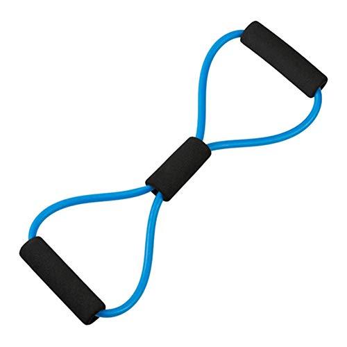 Taosheng Equipo de ejercicio de cuerda con 8 figuras de yoga y fitness de pecho expansor, núcleo deslizante de fitness (color azul)