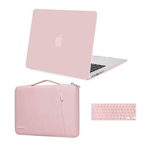 MOSISO MacBook Air 13 inch Case (A1369 A1466, Older Version 2010-2017 Release),Plastic Hard Shell Case&360 Protective Carrying Sleeve Bag&Keyboard Cover Compatible with MacBook Air 13 inch,Rose Quartz