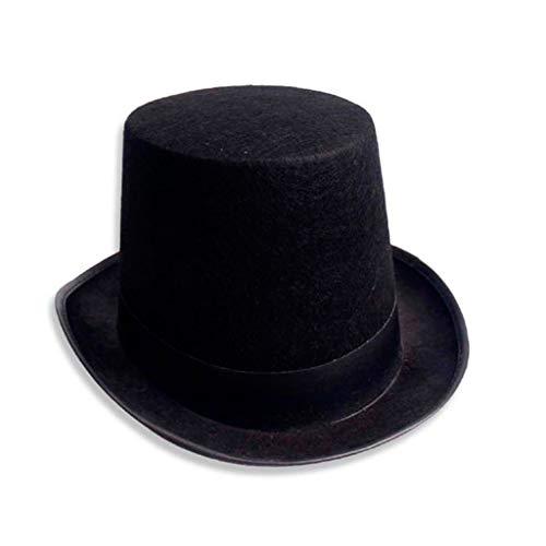 beioust Chapéu de Jazz Preto Unissex Vintage Mágico Vintage Chapéu de Feltro de Halloween Chapéu de Fantasia Steampunk Acessório para Vestir