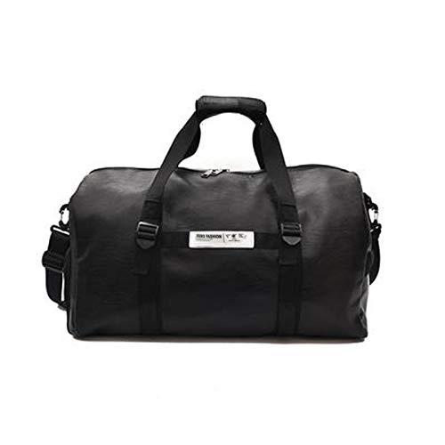 Borsa sportiva grande capacità, borsa da viaggio, impermeabile, in similpelle PU, vintage, borsa da viaggio, borsa da palestra, sport, lavoro, borsa da donna e uomo, colore: nero