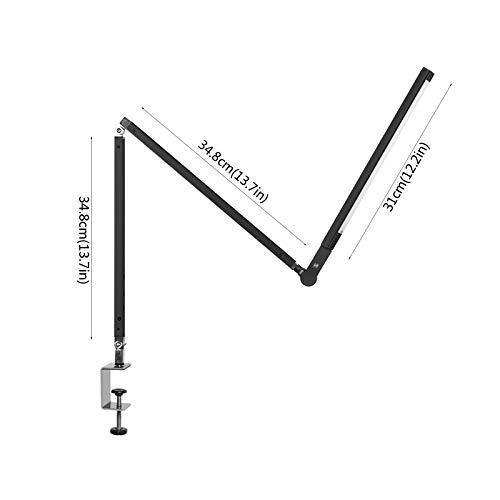 NYKK Lámpara de Escritorio LED con Clip Rocker Brazo Luz de Lectura Plegable Arquitecto Luz de Trabajo con Altura Ajustable, Control táctil, atenuación Continua (Color : Silver)
