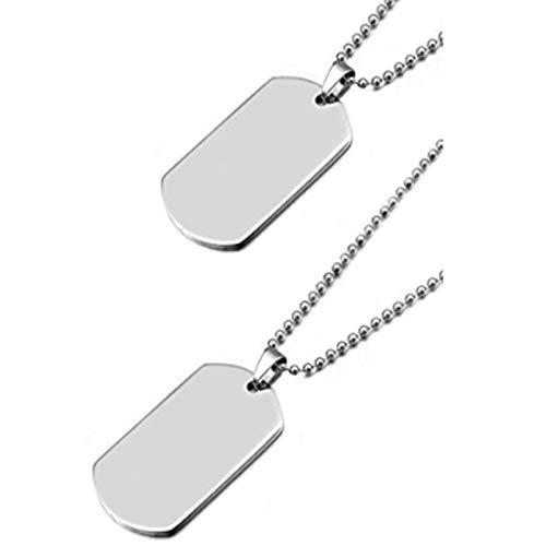 XinLuMing 2 Colgantes del ejército, gemenstitchet Altamente Pulido para Hombres y Mujeres, Collar de Marca de Perros en Estilo armo, 69 cm de Largo con Cadena de Bolas (Color : A)