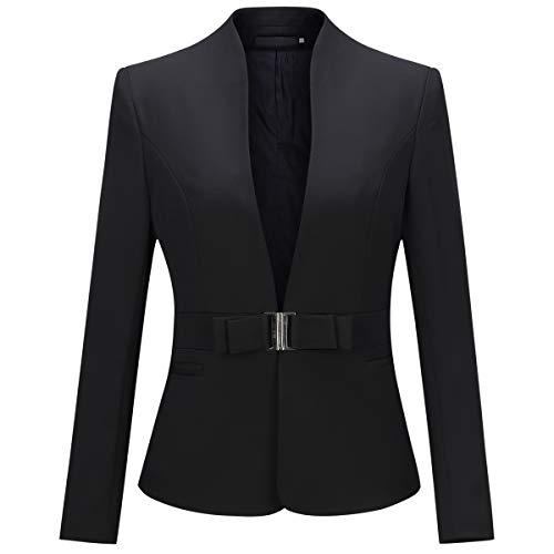 YYNUDA Damen Blazer Elegant mit Stehkragen Slim Fit V-Ausschnitt Anzugjacke mit Taillenschnalle