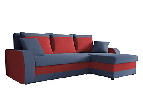 Ecksofa Kristofer, Design Eckcouch Couch! mit Schlaffunktion, Zwei Bettkasten, Farbauswahl, Wohnlandschaft! Bettfunktion! L-Form Sofa! Seite Universal! (Mikrofaza 0012 + Mikrofaza 0034.)