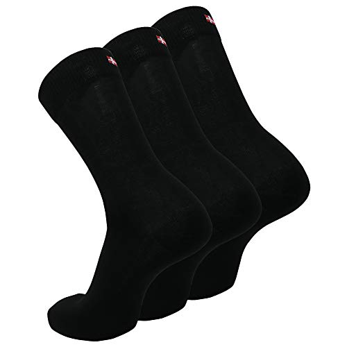 DANISH ENDURANCE Calcetines de Algodón, para Hombre y Mujer, Calcetines Clásicos de Vestir, Cómodos, Transpirables, para el Uso Diario, Negro, Gris, Rojo, Pack de 3 (Negro, EU 43-47)