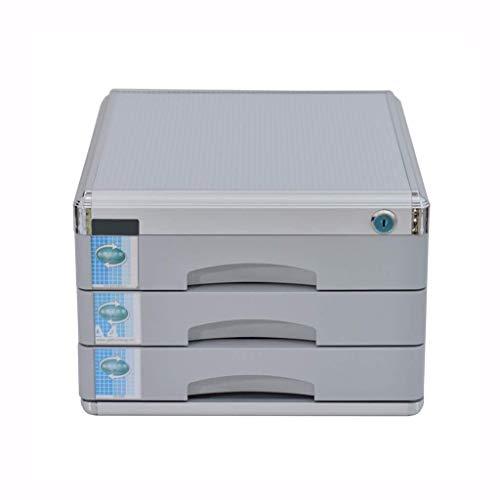 Archivadores Archivadores de alta dureza del material de aleación de aluminio con cerradura de escritorio Organizador de cajones de deslizamientos pequeña pista White Label - 30x36x20.8cm Caja de arch