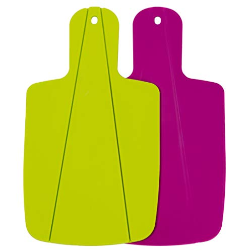 Kitchen Helpis® Schneidebrett, faltbares-Schneidebrett, Küchenbrett, Klappbares-Schneidebrett, Brettchen, biegsames Schneidebrett, knickbares Schneidebrettchen (2er Set: Grün & Pink)